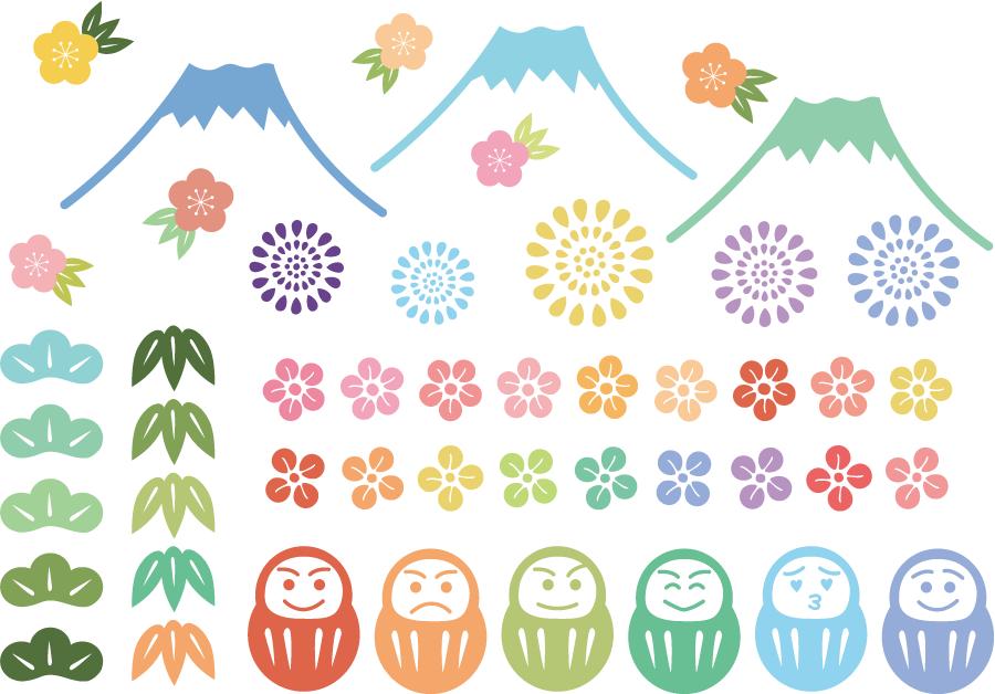 フリーイラスト 松竹梅と富士山とだるまのセット