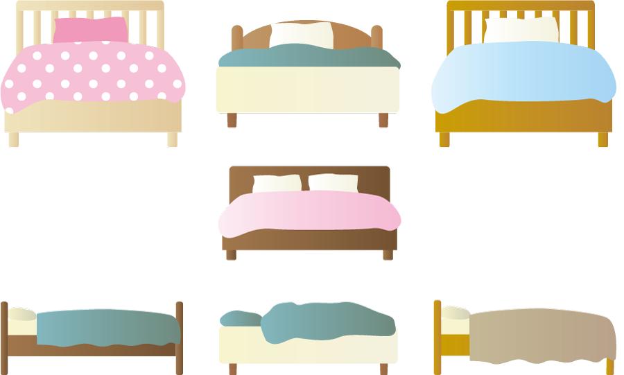 フリーイラスト 7種類のシングルベッドとダブルベッドのセット