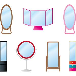 フリーイラスト, ベクター画像, AI, 家具, 姿見, 鏡(ミラー)