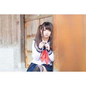 フリー写真, 人物, 少女, アジアの少女, 小花(00096), 中国人, 学生(生徒), 高校生, 学生服, セーラー服, ツインテール, 指を合わす