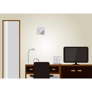 フリーイラスト, ベクター画像, AI, 風景, 部屋, ホテル, 液晶テレビ, テレビ(TV), 姿見, 電気ケトル, 電気スタンド