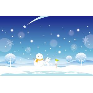 フリーイラスト, ベクター画像, AI, 背景, 冬, 雪, 雪だるま, ホッキョクギツネ, 小鳥, 流れ星(流星)