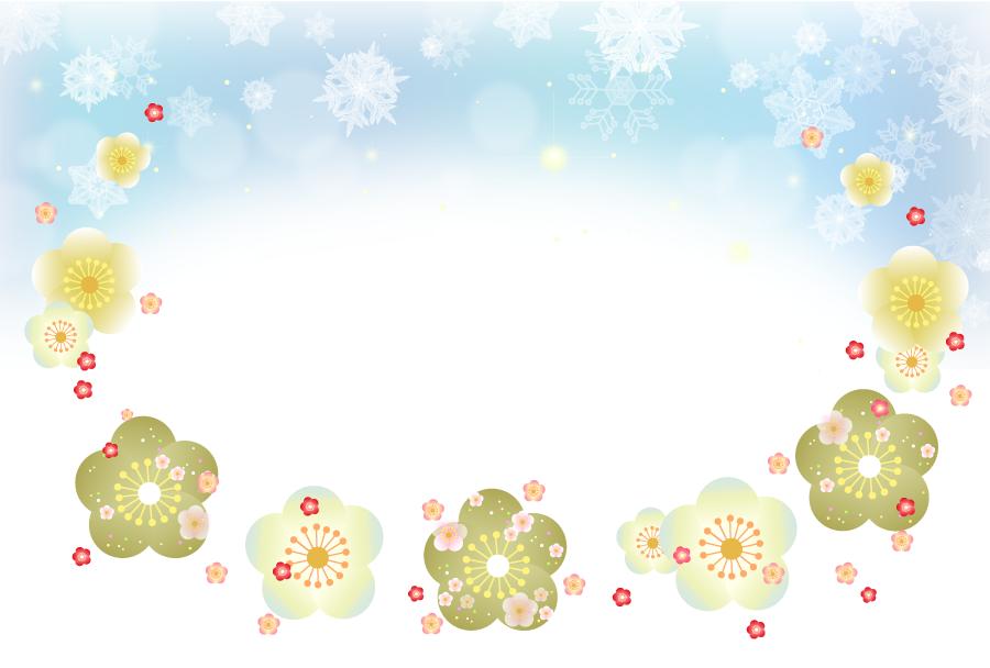 フリーイラスト 梅の花と雪の結晶の飾り枠