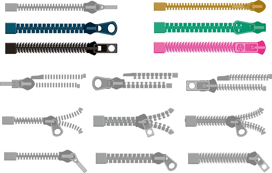 フリーイラスト 15種類のファスナーのセット