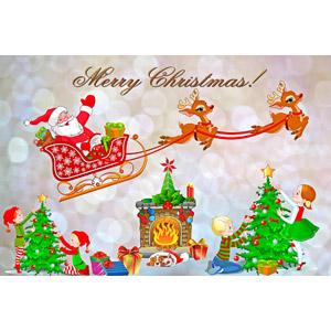 フリーイラスト, 年中行事, クリスマス, 12月, 冬, メリークリスマス, サンタクロース, トナカイ, ソリ, クリスマスツリー, クリスマスプレゼント, 暖炉, 子供, エルフ