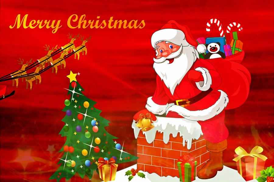 フリーイラスト プレゼントを届けに煙突に入るサンタのクリスマス背景