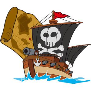 フリーイラスト, ベクター画像, AI, 乗り物, 船, 帆船, 海賊船, 海賊, ドクロマーク, 大砲, 地図, 古地図, 宝の地図