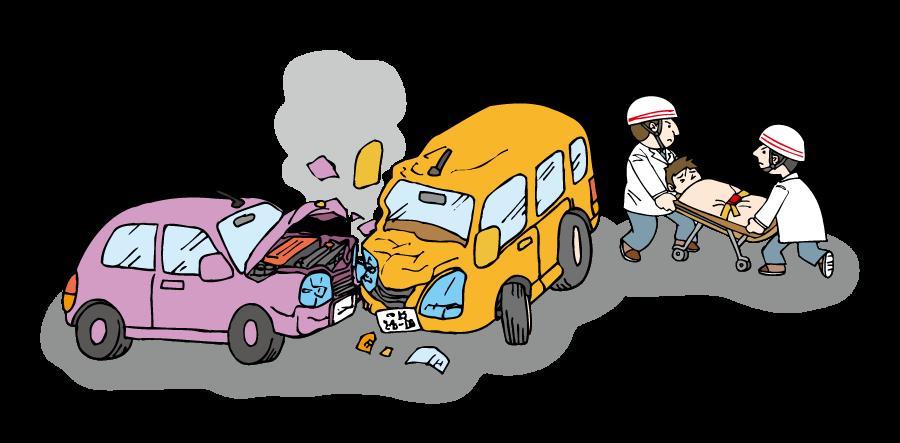 フリーイラスト 交通事故と救急隊員