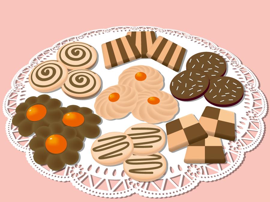 フリーイラスト レースの上の盛られたクッキー