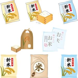 フリーイラスト, ベクター画像, AI, 食べ物(食料), お米, 升, 米袋