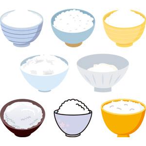 フリーイラスト, ベクター画像, AI, 食べ物(食料), 料理, 米料理, 御飯(ご飯), お米, ご飯茶碗