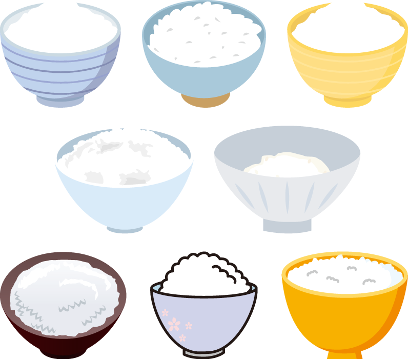 フリーイラスト 8種類のお茶碗の中のご飯のセット