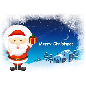 フリーイラスト, ベクター画像, AI, 背景, 年中行事, クリスマス, 12月, 冬, サンタクロース, クリスマスプレゼント, 夜, メリークリスマス, 雪, 家(一軒家), 雪だるま, 三日月
