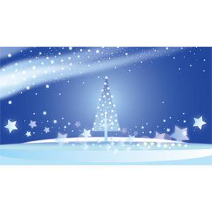 フリーイラスト, ベクター画像, AI, 背景, 年中行事, クリスマス, 12月, 冬, クリスマスツリー, 星(スター), 夜