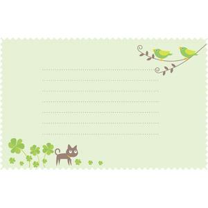 フリーイラスト, ベクター画像, AI, 背景, 便箋(便せん), 紙(ペーパー), メッセージカード, 小鳥, 猫(ネコ), 黒猫, クローバー(シロツメクサ), 緑色(グリーン)