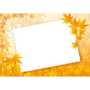 フリーイラスト, ベクター画像, AI, 背景, メッセージフレーム, メッセージカード, 植物, 葉っぱ, もみじ(カエデ), 紅葉(黄葉), 秋