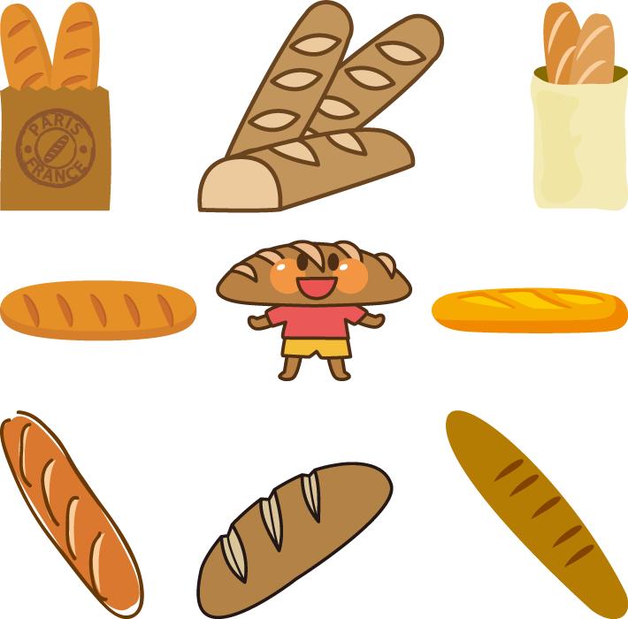 フリーイラスト 9種類のフランスパンのセット