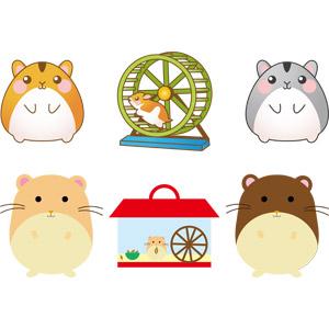 フリーイラスト, ベクター画像, AI, 動物, 哺乳類, 鼠(ネズミ), ハムスター, 回し車