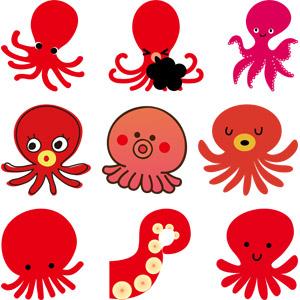 フリーイラスト, ベクター画像, AI, 動物, 軟体動物, 蛸(タコ), 魚介類, 赤色(レッド), 寝る(動物)