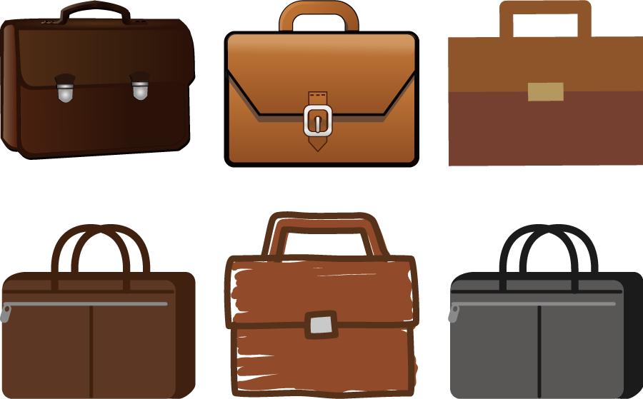 フリーイラスト 6種類のビジネスバッグのセット