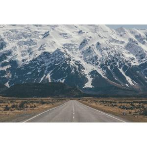 フリー写真, 風景, 山, 南アルプス山脈, 道路, ニュージーランドの風景