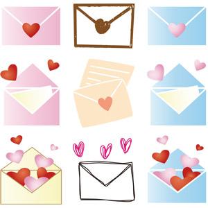 フリーイラスト, ベクター画像, AI, 手紙, 封筒, ラブレター, ハート, 愛(ラブ), 告白