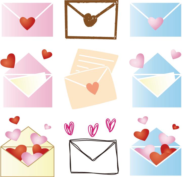 フリーイラスト 9種類のラブレターのセット