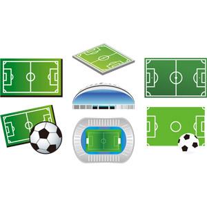 フリーイラスト, ベクター画像, AI, スポーツ, 球技, サッカー, サッカーフィールド, サッカースタジアム, サッカーボール