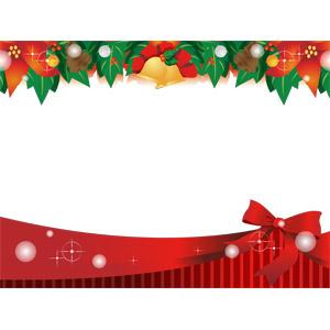 フリーイラスト, ベクター画像, AI, 背景, 年中行事, クリスマス, 12月, フレーム, 囲みフレーム, ポインセチア, セイヨウヒイラギ, クリスマスベル, 松ぼっくり(松笠)
