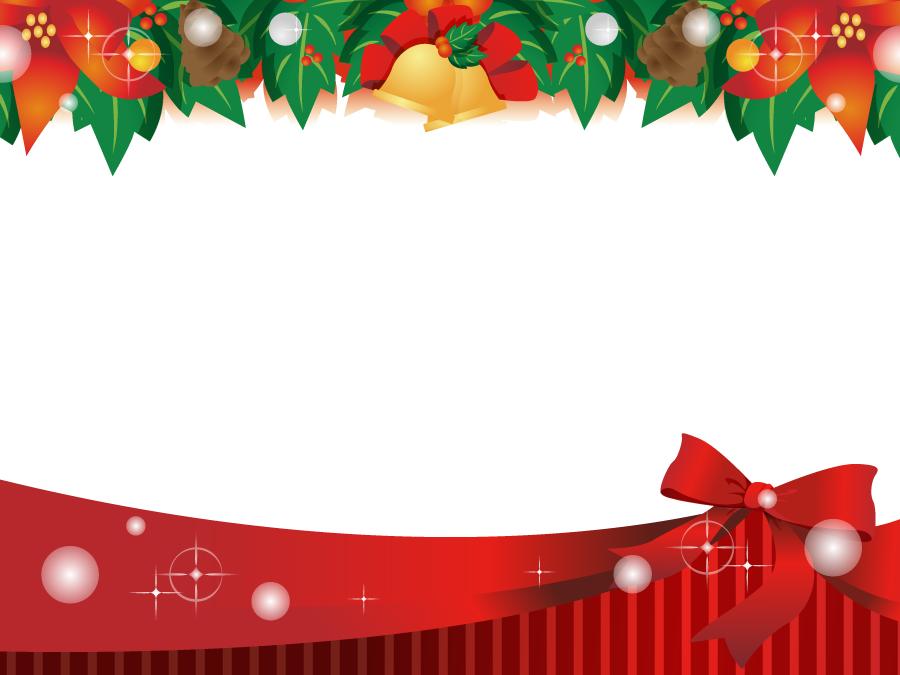フリーイラスト 赤いリボンとクリスマスの飾りのフレーム