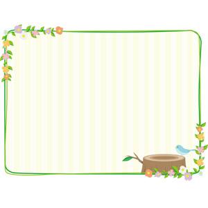 フリーイラスト, ベクター画像, AI, 背景, フレーム, 囲みフレーム, 植物, 花, 切り株, 小鳥, 青い鳥
