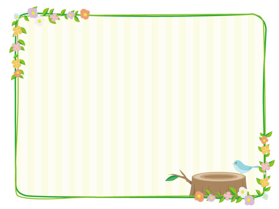 フリーイラスト 切り株の上の小鳥と花の飾り枠