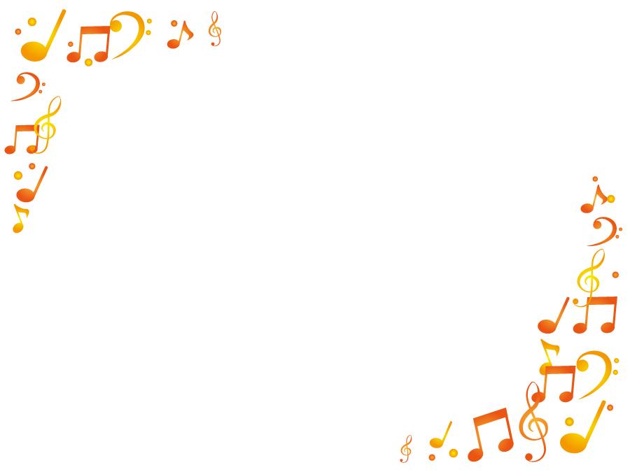 フリーイラスト オレンジ色の音符の飾り枠