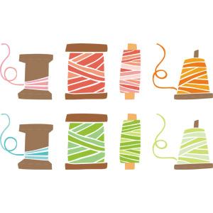 フリーイラスト, ベクター画像, AI, 裁縫道具, 糸