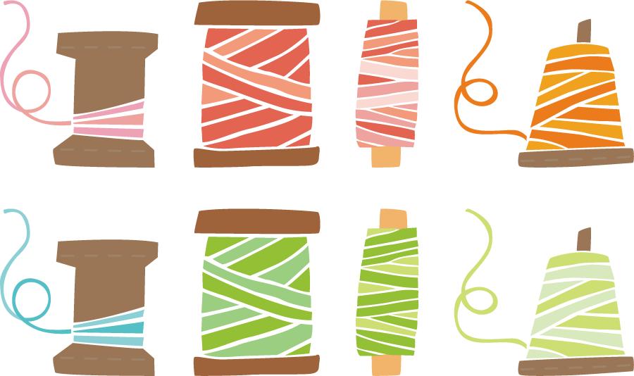 フリーイラスト 8種類のミシン糸のセット
