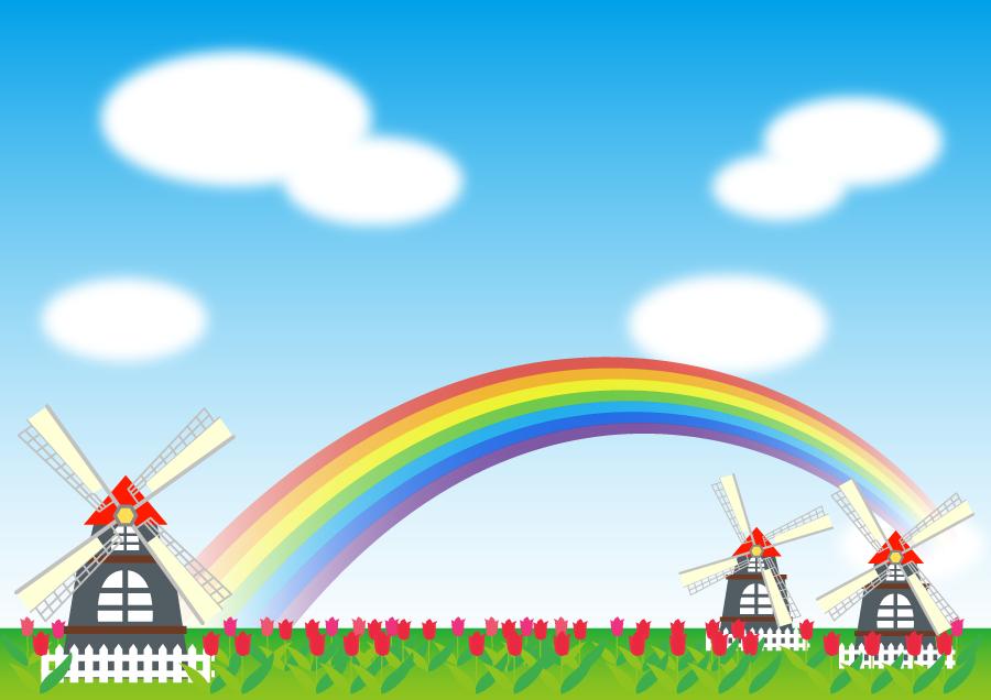 フリーイラスト 虹の架かるチューリップ畑と風車