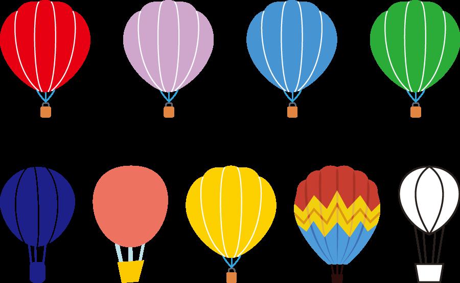 フリーイラスト 9種類の熱気球のセット