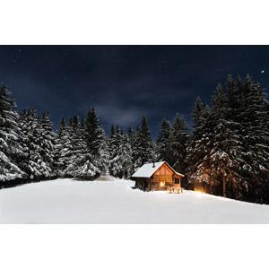 フリー写真, 風景, 樹木, 山小屋, 小屋(納屋), 雪, 夜, 星(スター), 冬, 夜空
