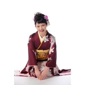 フリー写真, 人物, 女性, アジア人女性, 日本人, 女性(00047), 和服, 着物, 元旦(元日), 正月, 1月, 白背景, 年中行事, 挨拶