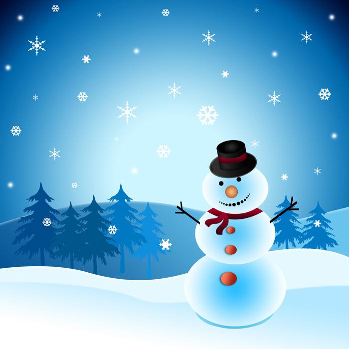 フリーイラスト 雪だるまと雪の結晶の背景