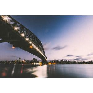 フリー写真, 風景, 建造物, 建築物, 橋, 高層ビル, 都市, オーストラリアの風景, シドニー, 日暮れ