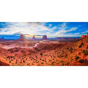 フリー写真, 風景, 自然, 渓谷, 岩山, 河川, コロラド川, 太陽光(日光), アメリカの風景, ユタ州, アリゾナ州, モニュメント・バレー