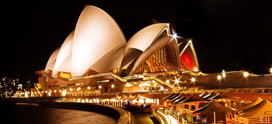 フリー写真 シドニーオペラハウスの夜景
