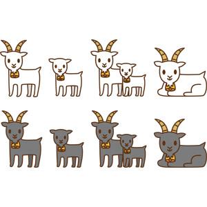 フリーイラスト, ベクター画像, AI, 動物, 哺乳類, 山羊(ヤギ), 子供(動物), 親子(動物)