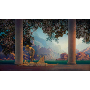 フリー絵画, マックスフィールド・パリッシュ, 神殿, 山, 少女, 二人, 仰向け, 寝転ぶ