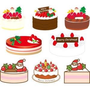 フリーイラスト, ベクター画像, AI, 年中行事, クリスマス, 12月, 食べ物(食料), 菓子, 洋菓子, スイーツ, ケーキ, クリスマスケーキ