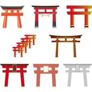 フリーイラスト, ベクター画像, AI, 建造物, 建築物, 鳥居, 神社, 伏見稲荷大社, 京都府, 日本神道
