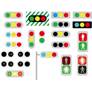 フリーイラスト, ベクター画像, AI, 信号機, 道路施設