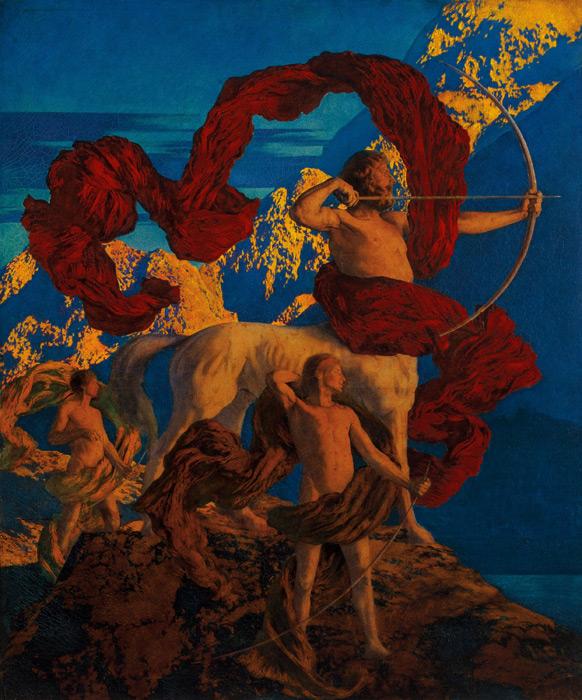 フリー絵画 マックスフィールド・パリッシュ作「イアソンと先生」