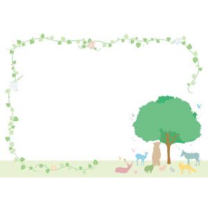 フリーイラスト, ベクター画像, AI, 背景, フレーム, 囲みフレーム, 動物, シルエット(動物), 樹木, 蔦(ツタ), 熊(クマ), 鹿(シカ), 狐(キツネ), 兎(ウサギ)